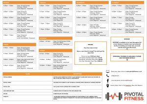 Pivotal fitness timetable